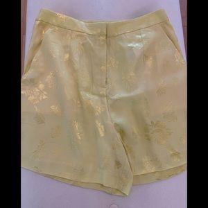 Brand new yellow floral high waist shorts